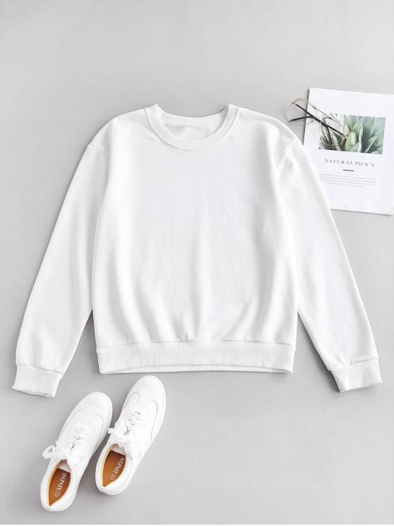 fashion ZAFUL Pullover Drop Shoulder Sport Sweatshirt - MILK WHITE S