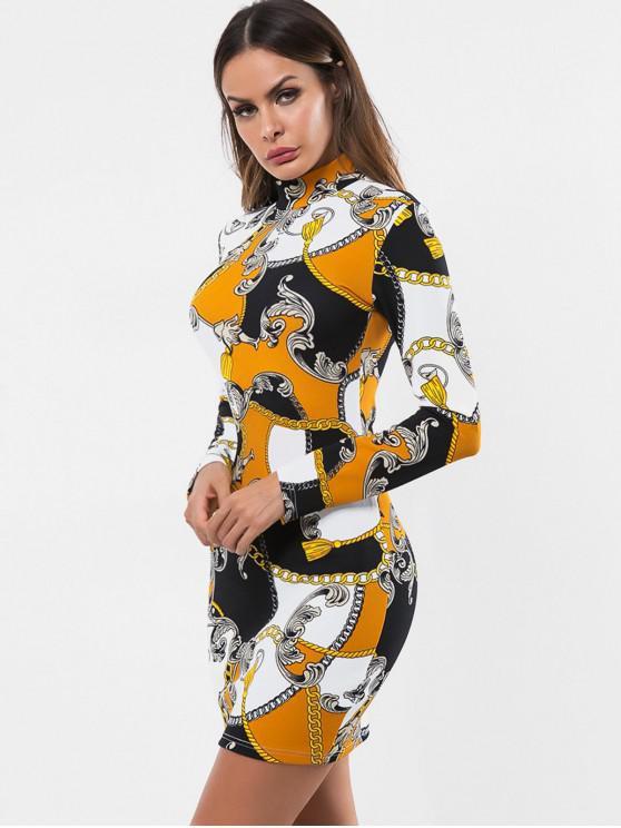 Vestito Aderente Stampato Catena Con Frange - Multi Colori M
