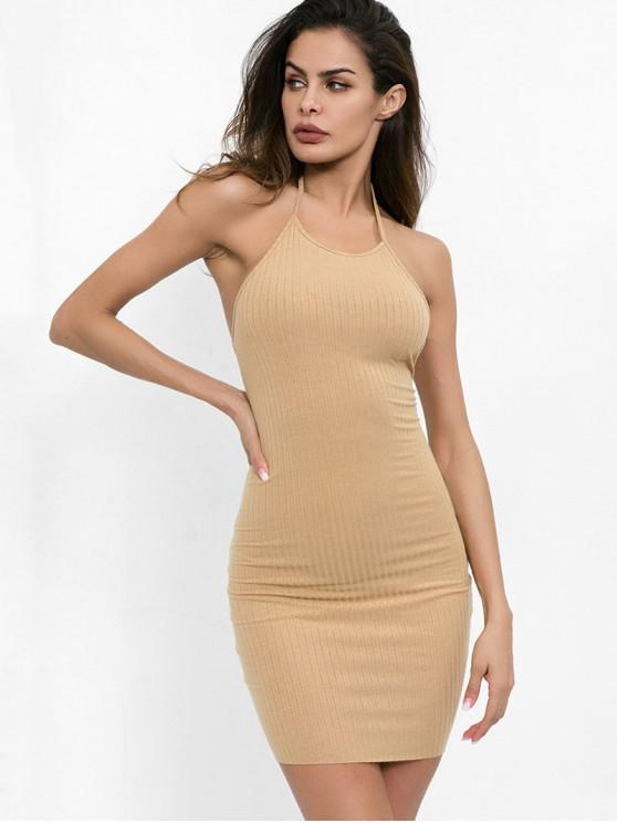 outfits Halter Neck Plain Bodycon Dress - LIGHT KHAKI S