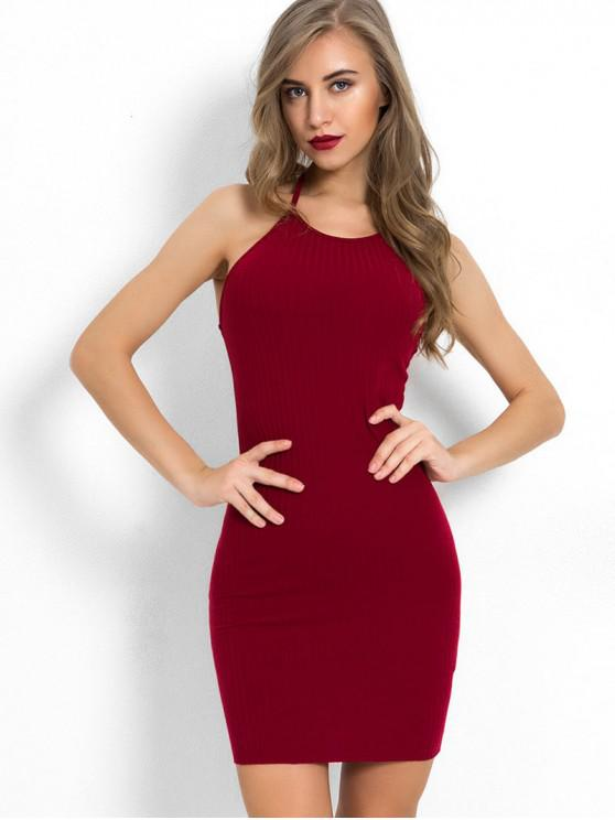 women's Halter Neck Plain Bodycon Dress - RED WINE M
