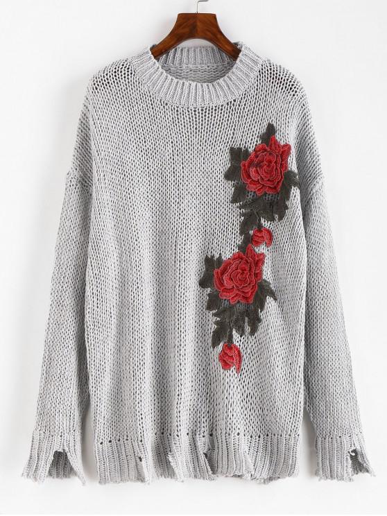 Camisola extravagante afligida floral do Applique - Cor Cinza de Navio de Guerra M