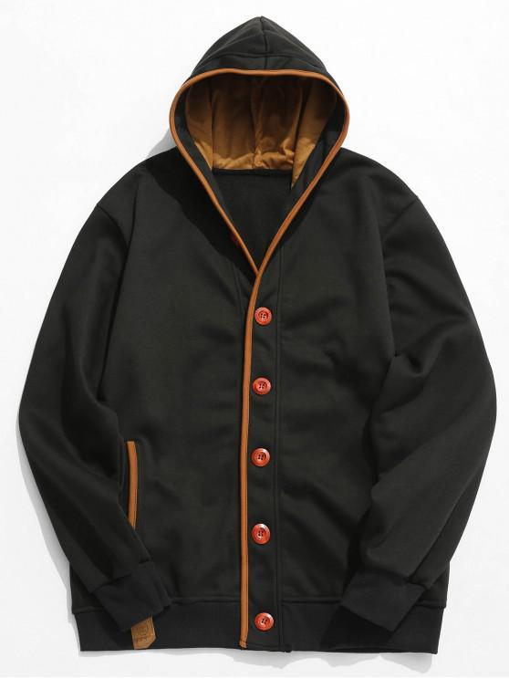 best Single Breasted Hooded Fleece Jacket - BLACK M