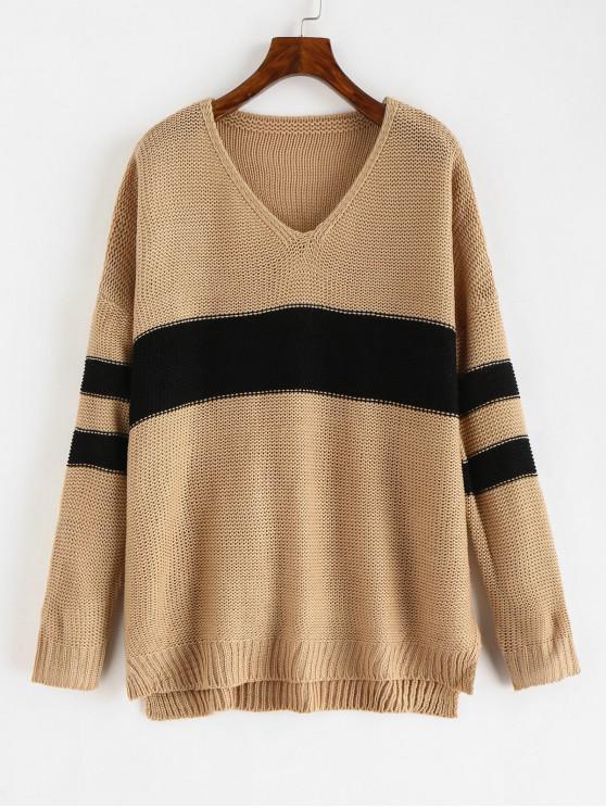 fashion Contrast Stripe V Neck Baggy Sweater - KHAKI L