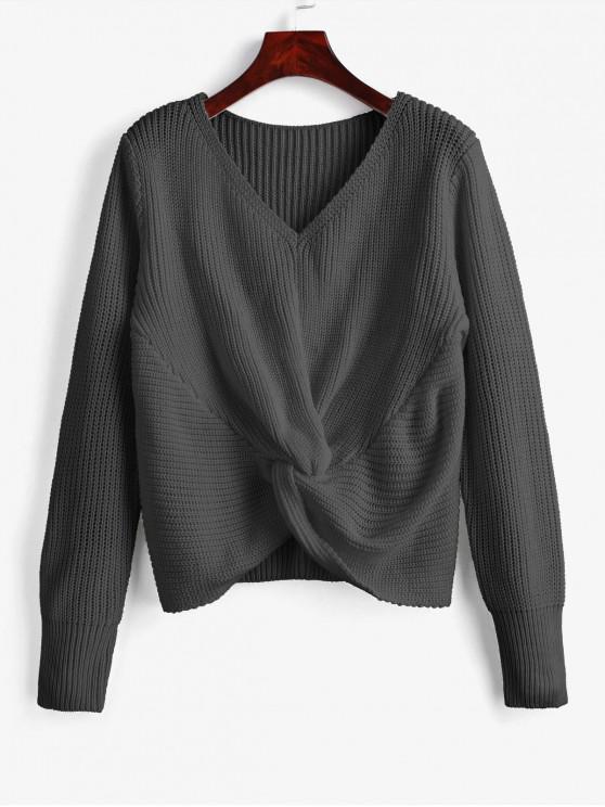 Maglione Pullover Con Scollo A V - Grigio Scuro Taglia unica