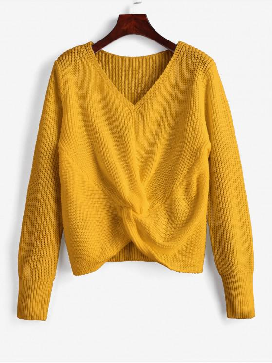 shop V Neck Twist Front Pullover Sweater - BEE YELLOW ONE SIZE