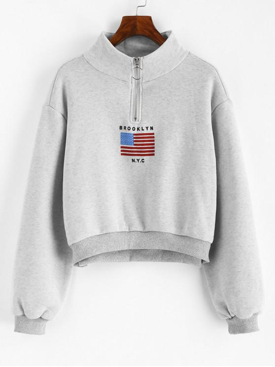 trendy American Flag Zip Mock Neck Sweatshirt - LIGHT GRAY S