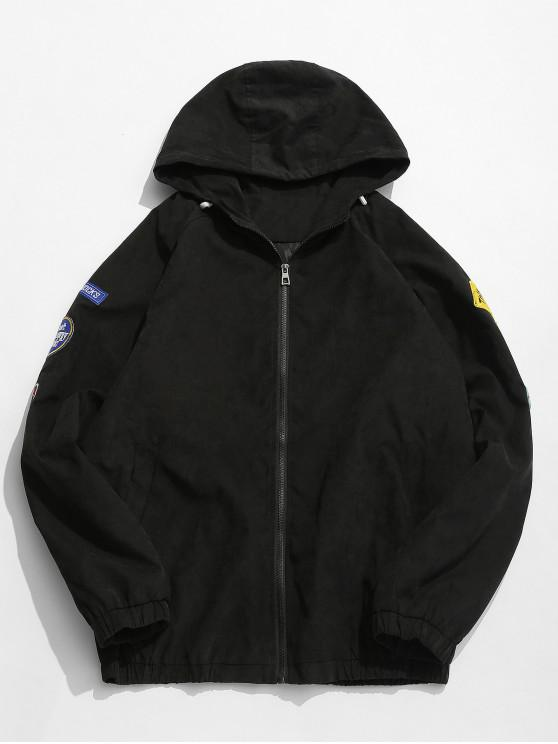 Bordados apliques patchwork chaqueta delgada - Negro 3XL