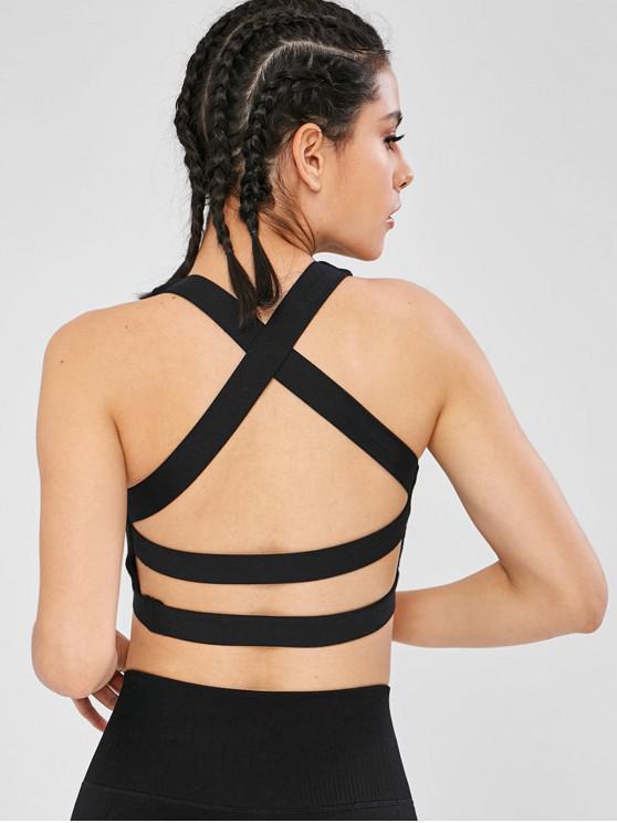 Backless Criss Cross Mesh Design Sutiã Esportivo - Preto XL