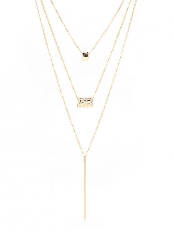 chic Layered Geometric Vertical Shape Sweater Necklace - GOLD