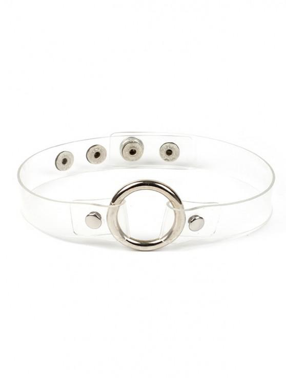 affordable Artificial Leather Round Hoop Design Choker Necklace - WHITE