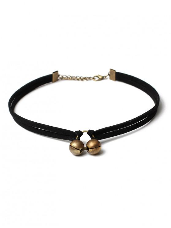womens Double Small Bells Pattern Choker Necklace - BLACK