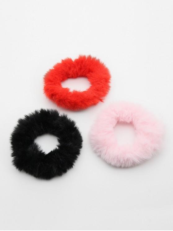 3 Pcs Cute Faux Fur Ponytail Hair Band - متعددة C