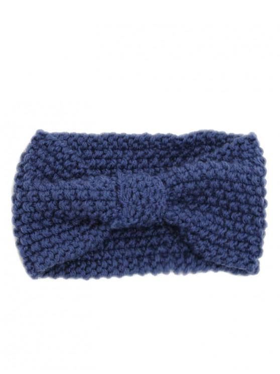 unique Winter Bowknot Solid Color Knitted Headband - NAVY BLUE REGULAR