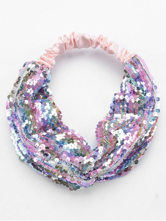buy Colored Sequin Elastic Headband - PINK