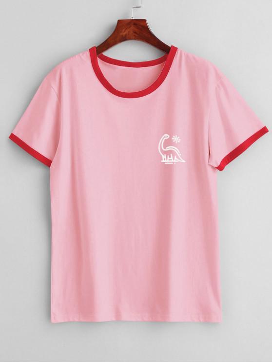 fashion Short Sleeve Graphic Jersey Ringer T-Shirt - PINK M