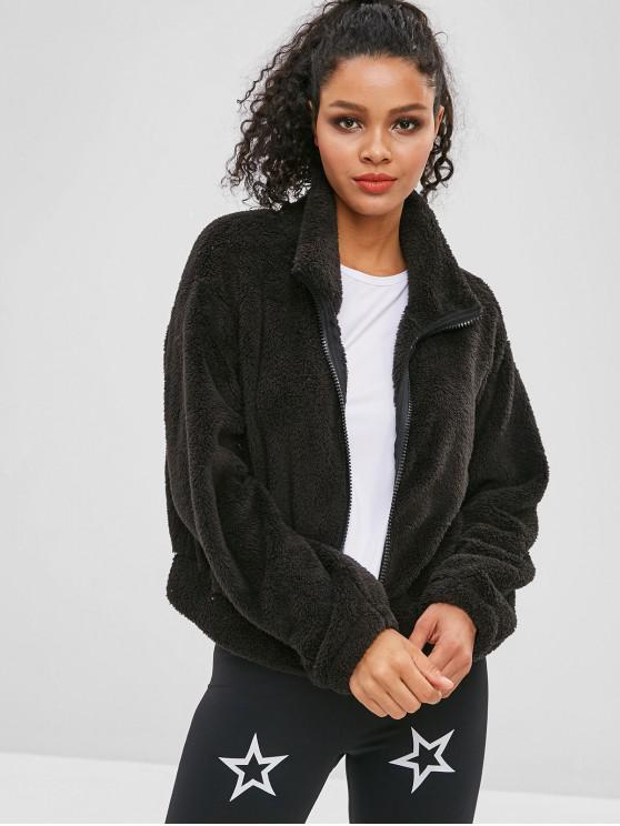 sale ZAFUL Fluffy Drop Shoulder Zipper Teddy Jacket - BLACK S