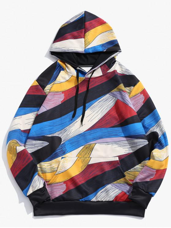 women's Abstract Art Design Pullover Drawstring Hoodie - MULTI S