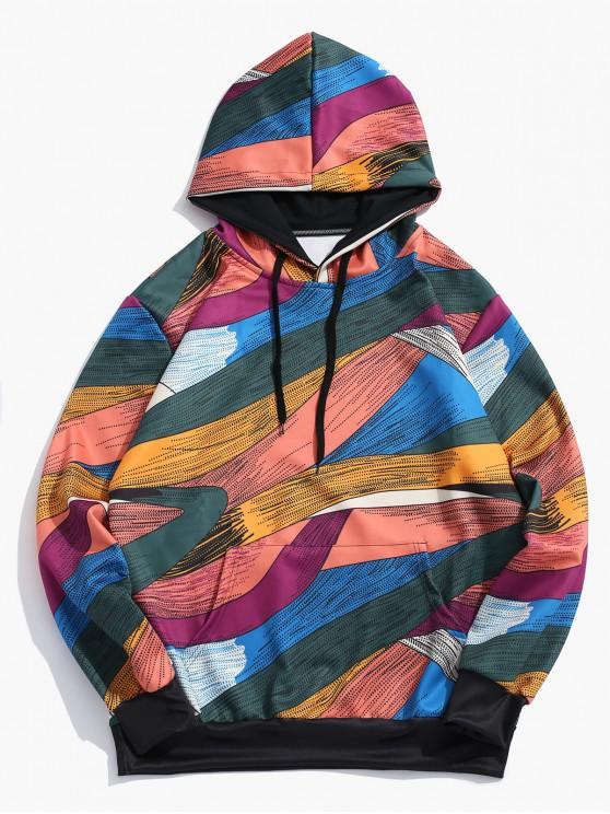 best Abstract Art Design Pullover Drawstring Hoodie - MULTI-C L
