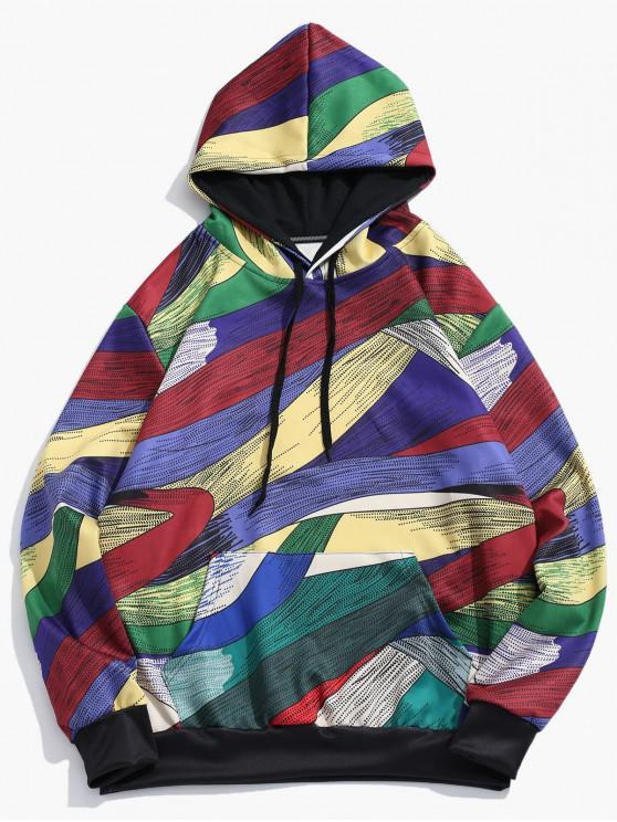 trendy Abstract Art Design Pullover Drawstring Hoodie - MULTI-D XL