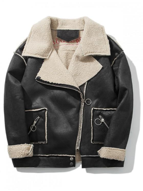 shop Asymmetric Zipper PU Leather Coat - BLACK 2XL