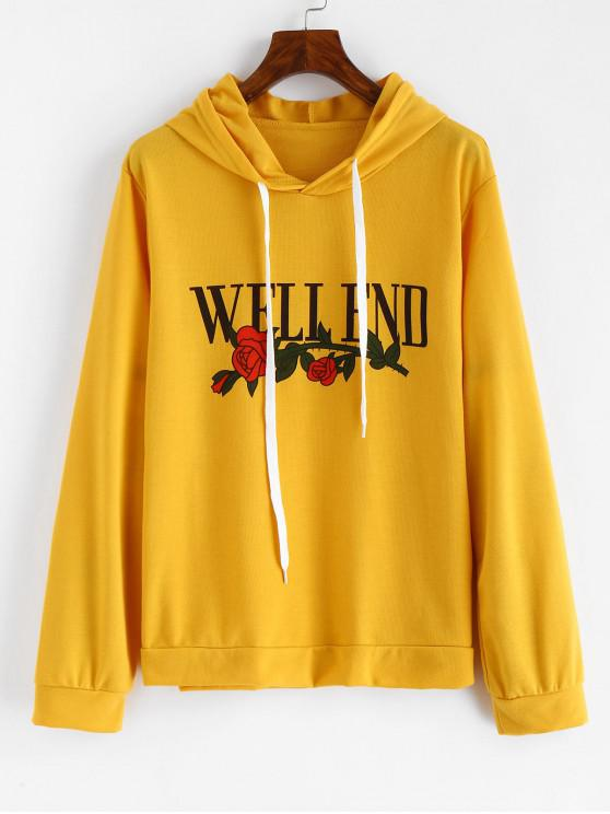 unique Floral Well End Graphic Hoodie - BRIGHT YELLOW S