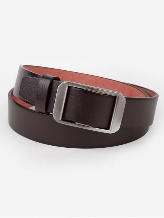 new Silver Rectangle Buckle Artificial Leather Belt - COFFEE