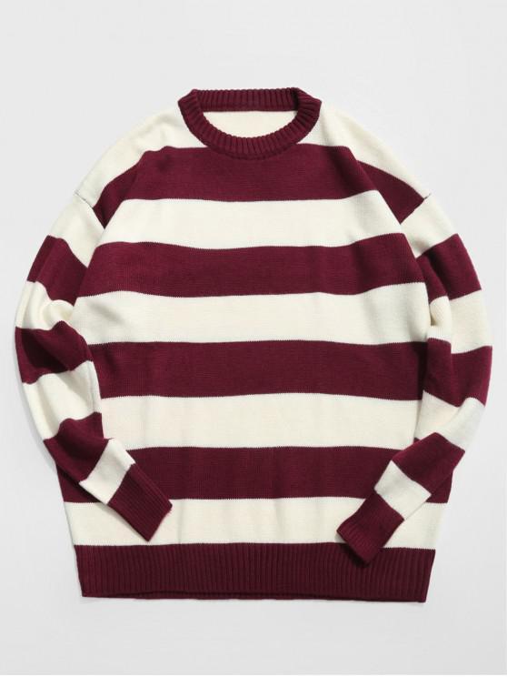 lady Contrast Stripe Crewneck Knit Sweater - FIREBRICK L