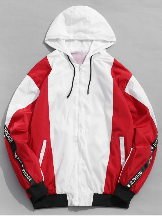 fashion Letter Stripe Contrast Windbreaker Jacket - RED XS