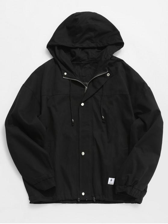 best Solid Casual Loose Jacket - BLACK L