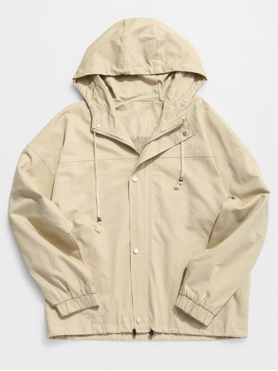 shops Solid Casual Loose Jacket - KHAKI XL