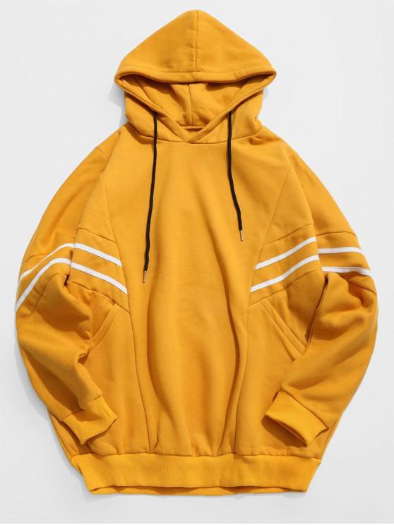 Hoodie frouxo dos retalhos da listra do contraste - Amarelo 2XL