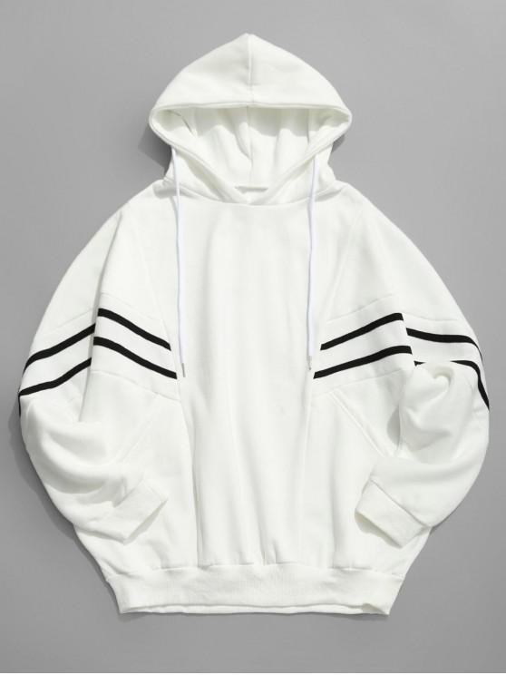 best Contrast Stripe Patchwork Loose Fleece Hoodie - WHITE 2XL