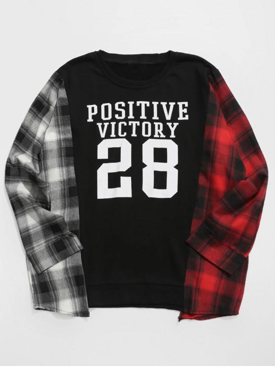 Kontrast-Plaid-Sweatshirt mit Buchstabenanzahl - Schwarz M
