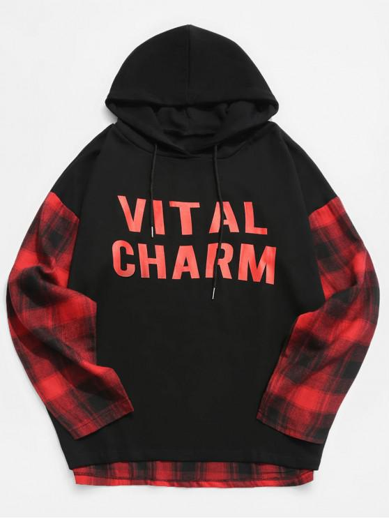 affordable Contrast Plaid Patchwork Letter Hoodie - RED XL
