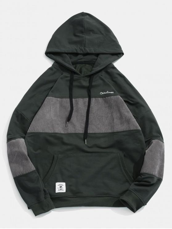 Sweat à capuche en velours côtelé - Noir 3XL