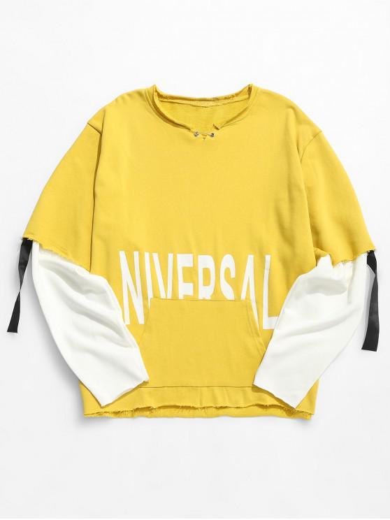 Raw Edge Letter falsch zweiteiliges Sweatshirt - Gelb M
