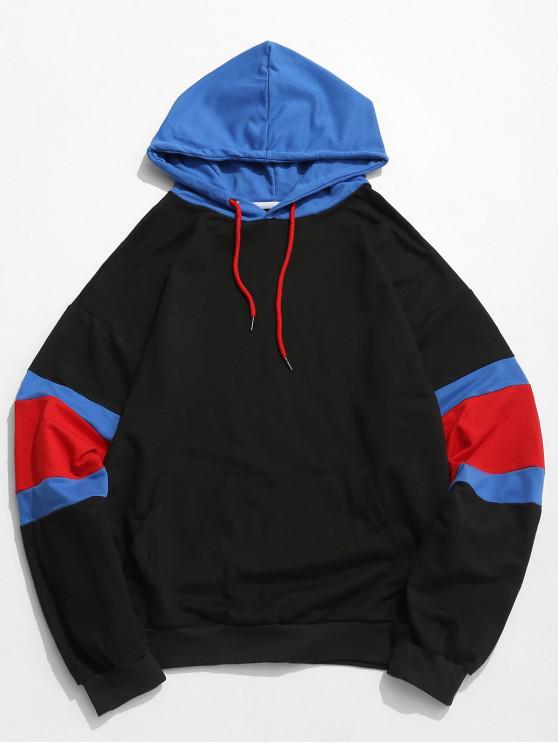 Sweat à capuche à rayures colorblock - Noir XL