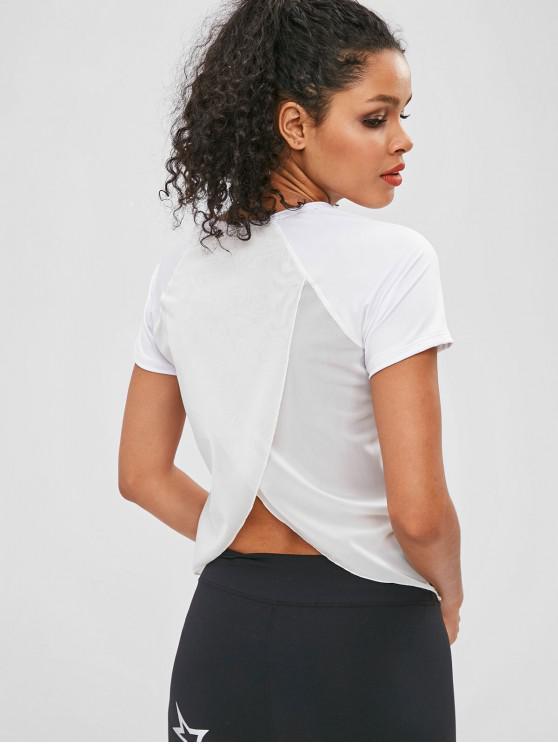 Tulpe-Rücken-T-Shirt mit Mesh-Einsatz - Weiß S