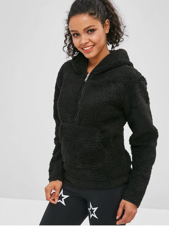 shops ZAFUL Faux Fur Zipper Kangaroo Pocket Hoodie - BLACK L