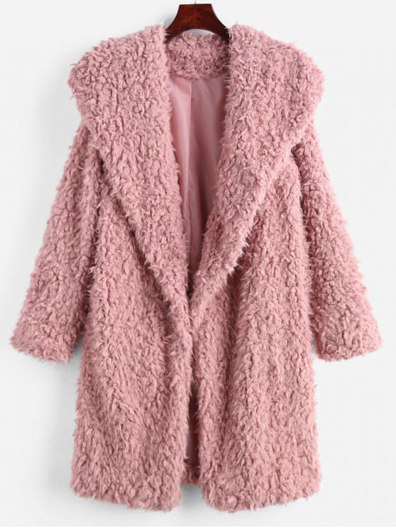 women's Fluffy Longline Teddy Coat - PIG PINK M