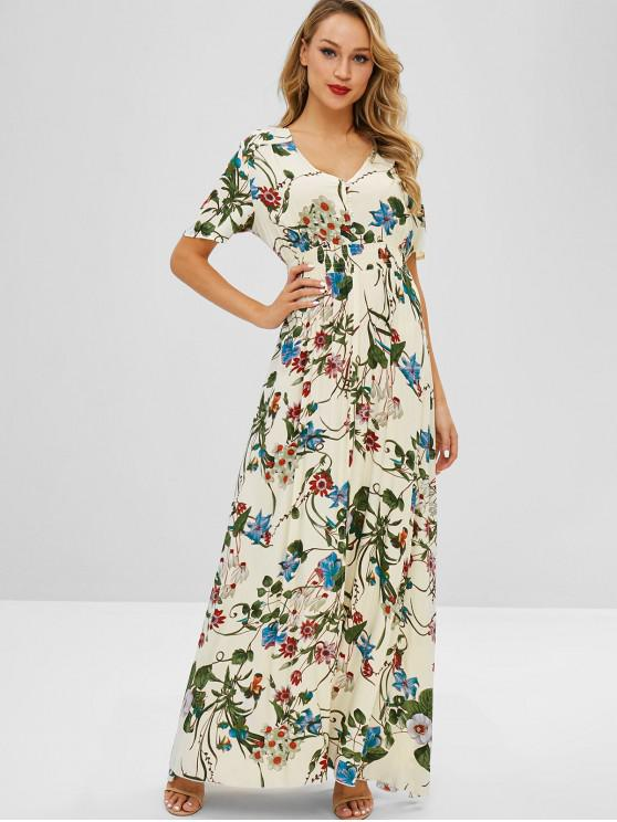 Zaful Maxi Vestido Estampado De Flores Con Abertura Multi
