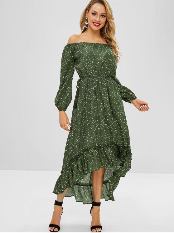 womens ZAFUL High Low Flounce Polka Dot Dress - DARK GREEN L