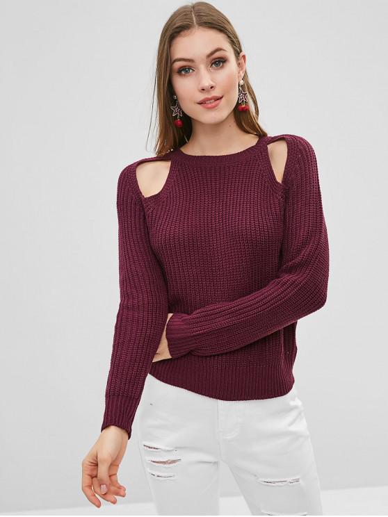 Вырезать свиной свитер - Бархатный тёмно-бордовый  L