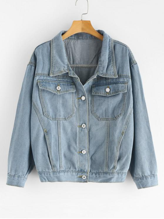 women Button Up Pockets Denim Jacket - DENIM BLUE L