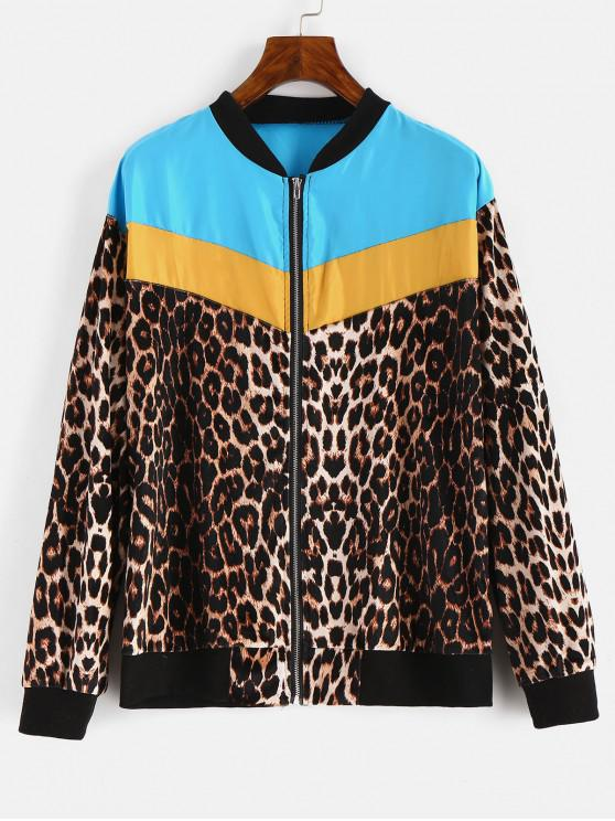 latest Leopard Color Block Zipper Jacket - MULTI-A S