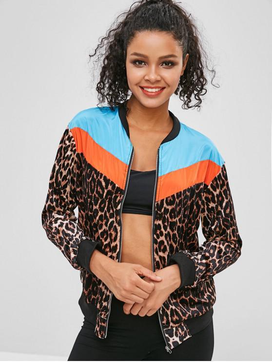women Leopard Color Block Zipper Jacket - MULTI L