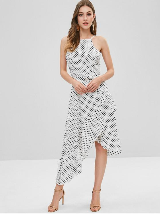 hot Polka Dot Belted Asymmetrical Ruffle Dress - MILK WHITE M