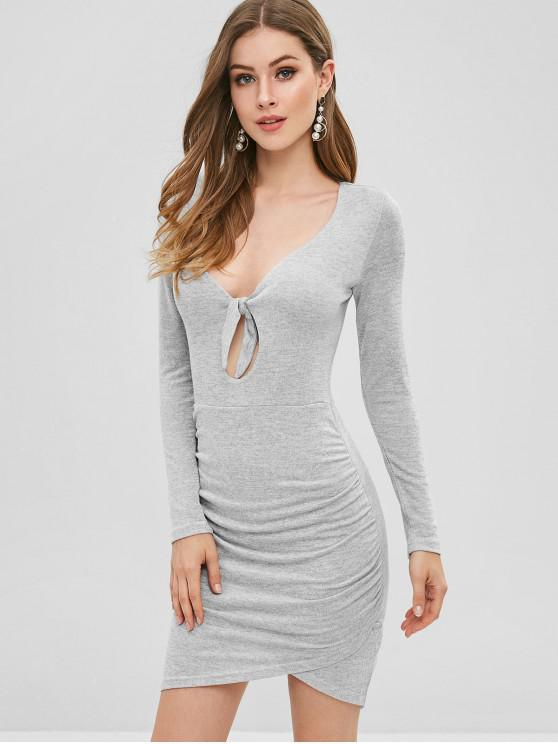 shop Bunny Tie Ruched Knit Bodycon Mini Dress - GRAY CLOUD S