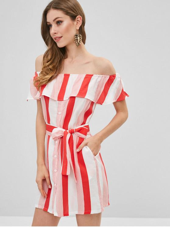 ladies Button Up Off Shoulder Stripes Dress - VALENTINE RED M