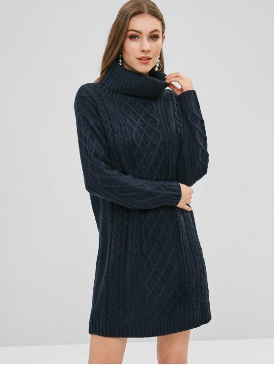 Rollkragenpullover-Kleid mit Zopfmuster - Mitternacht Blau XL